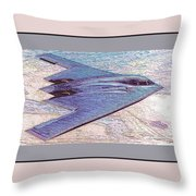 Northrop Grumman B-2 Spirit Stealth Bomber Enhanced With Double Border II Throw Pillow