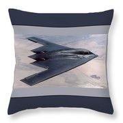 Northrop Grumman B-2 Spirit Stealth Bomber With Double Border Throw Pillow
