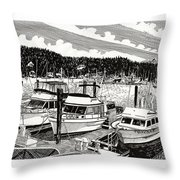 Gig Harbor Yacht Moorage Throw Pillow