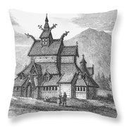 Norway: Borgund Church Throw Pillow