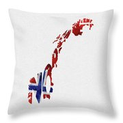 Norway Typographic Map Flag Throw Pillow