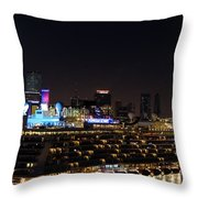 Norwegian Cruise Ship And Lunar Eclipse Throw Pillow