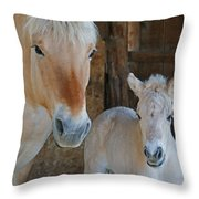 Norwegian Fjord Horse And Colt 1 Throw Pillow