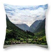 Norwegian Fjord Village Throw Pillow by KG Thienemann