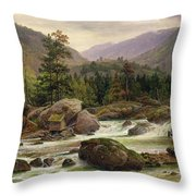 Norwegian Waterfall Throw Pillow