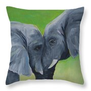 Nose To Nose In Green Throw Pillow