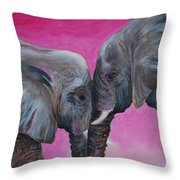 Nose To Nose In Pink Throw Pillow