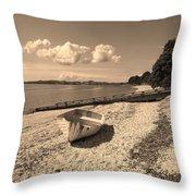 Nostalgia Boat On Beach Throw Pillow