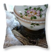 Nostalgia - Old Lace And Lamp Base Throw Pillow
