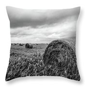 Nostalgia - Hay Bales In Field In Black And White Throw Pillow