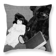 Nostalgic Doll And Bear With Reading Book Throw Pillow