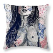 Nothing Violates This Nature - Blue Throw Pillow