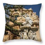 Noto Sicilian Baroque - Church Of San Domenico On A Bright Sunny Day Throw Pillow
