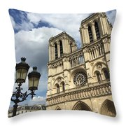 Notre Dame And Lamppost Throw Pillow
