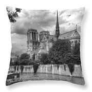 Notre Dame And Seine Throw Pillow