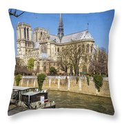 Notre Dame And The Seine Throw Pillow