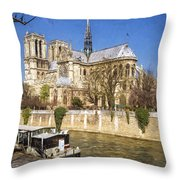 Notre Dame And The Seine Painterly Throw Pillow