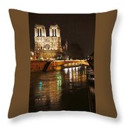 Notre Dame Bridge Paris France Throw Pillow