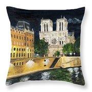 Notre Dame Throw Pillow by Bruce Schmalfuss