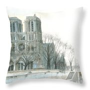Notre Dame Cathedral In March Throw Pillow by Dominic White