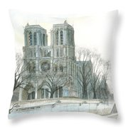 Notre Dame Cathedral In March Throw Pillow