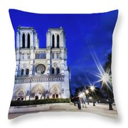 Notre Dame Cathedral Paris 4 Throw Pillow