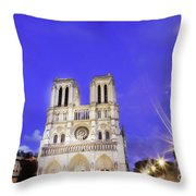 Notre Dame Cathedral Paris Throw Pillow