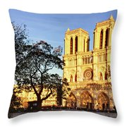 Notre Dame De Paris Facade Throw Pillow