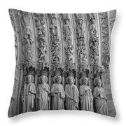 Notre Dame Doorway Detail Paris France Throw Pillow
