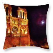 Notre Dame In The Autumn Moonlight Throw Pillow