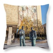 Notre Dame Library And Statue Throw Pillow