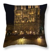 Notre Dame Night Painterly Throw Pillow