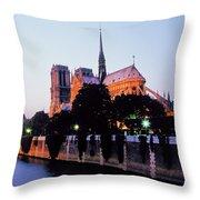 Notre Dame On The Seine Throw Pillow