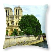 Notre Dame On The Seine Throw Pillow