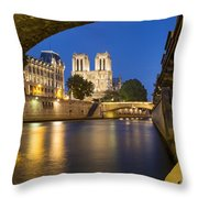 Notre Dame - Paris Night View II Throw Pillow