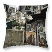Notre Dame Street Art Throw Pillow