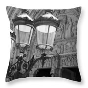 Notre Dame Street Lights Paris France Black And White Throw Pillow