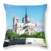 Notre Dame Over Water Throw Pillow