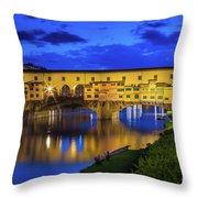 Notte A Ponte Vecchio Throw Pillow