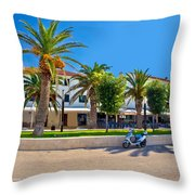 Novalja On Pag Island Palm Waterfront View Throw Pillow