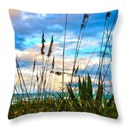 November Day At The Beach In Florida Throw Pillow by Susanne Van Hulst