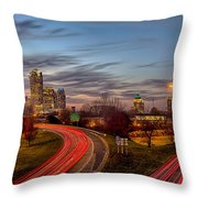 November Sun Setting Over Charlotte North Carolina Skyline Throw Pillow