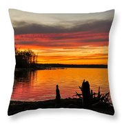 November Sunset Manasquan Reservoir Nj Throw Pillow