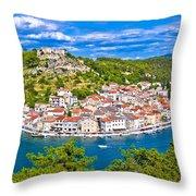 Novigrad Dalmatinski Waterfront And Bay View Throw Pillow