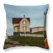 Nubble At Sunset Throw Pillow