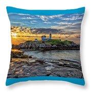 Nubble Light At Sunrise Throw Pillow