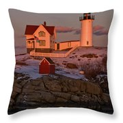 Nubble Light At Sunset Throw Pillow by Paul Mangold
