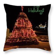 Nubble Light - Happy Holidays Throw Pillow