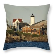 Nubble Light House Beach View Throw Pillow