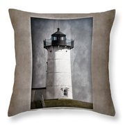 Nubble Light Maine Throw Pillow by Carol Leigh